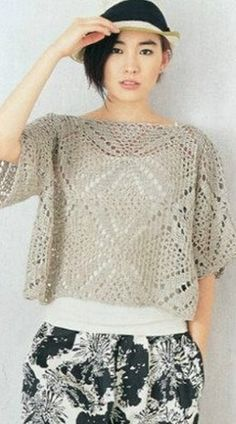 square motif crochet blouse pattern
