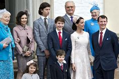 Prince Felix of Denmark (C), son of Prince Joachim and former wife Countess Alexandra (L-2nd), Princess Marie (2nd-R) together with Queen Margrethe and Prince consort Henrik and Prince Nikolai (from back row R-L) front row are Princess Athena and Prince Henrik Carl children of Princess Marie(2nd-R) and Prince Joachim at the Fredensborg Palace church after his confirmation on April 1, 2017.