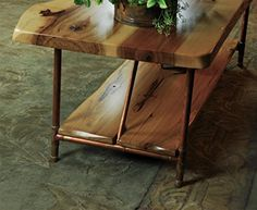 Niangua Furniture Live Edge Rustic Coffee Table with Copper Pipe Legs – 48″ x 23″