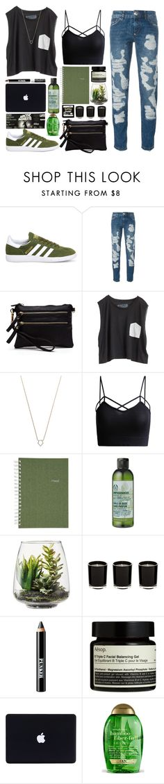 """Untitled #979"" by kirrky ❤ liked on Polyvore featuring adidas, Philipp Plein, Blondes Make Better T-Shirts, Monique Péan, Mead, The Body Shop, Threshold, Ardency Inn, Aesop and Chapstick"