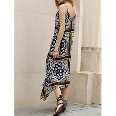 Retro Style Spaghetti Strap Sleeveless Floral Print Asymmetrical Women's Dress