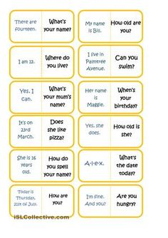 In my experience, Spanish students find it very hard to understand the use of auxiliaries in English. This is a simple game of domino so that students can learn to ask questions in a funny way. You can use it as a warmer or as a revising activity. They'll love it! It's fully editable. - ESL worksheets