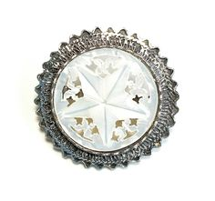 Vintage Star Brooch Sterling Frame  Carved Mother of Pearl by silvermoonstars on Etsy