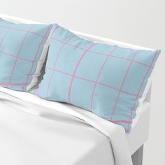 Grid Pink and Blue Pillow Sham