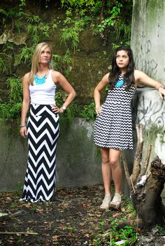 Long black and white chevron maxi skirt by MaddieGreyBoutique, $35.00