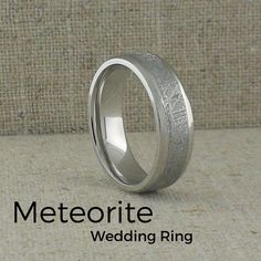 Exquisite cobalt chrome wedding Ring with Meteorite Inlay. Flat profile ring with a beveled edge. Comfort fit.