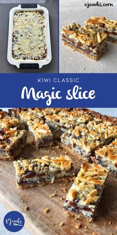 Delicous and Easy Magic Slice Recipe - VJ cooks I made it with fresh NZ cranberries Baking Recipes, Cake Recipes, Dessert Recipes, Party Recipes, Dessert Bars, Baking Ideas, Keto Recipes, No Bake Slices, Peppermint Slice