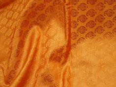 Burnt Orange Silk Wholesale Jacquard Fabric By Yard Banarsi | Etsy