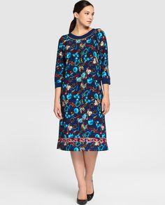 Vestido de mujer talla grande Talla y Moda con estampado y manga francesa