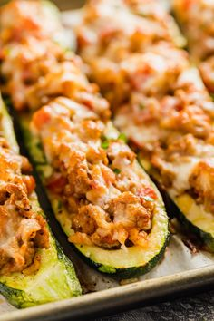 Italian Stuffed Zucchini Boats are the healthy weeknight meal you'll want to make again and again. This is a seriously easy recipe that's full of delicious flavor without all the guilt! Zucchini Dinner Recipes, Zuchinni Recipes, Turkey Recipes, Veggie Recipes, Beef Recipes, Italian Recipes, Cooking Recipes, Healthy Recipes, Vegetarian Stuffed Zucchini