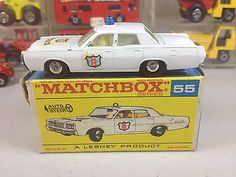 Lesney MATCHBOX-55-D-Mercury Park Lane Police Car Regular Wheels in F-Type Box