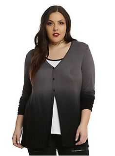 Fade to Black // Grey Black Ombre Girls Cardigan Plus Size