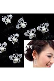 Butterfly Alloy with Rhinestone and Pearl Wedding Headpiece