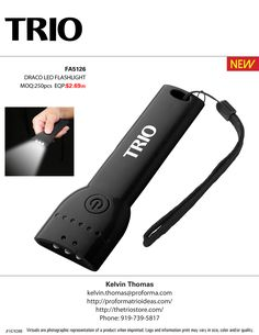 #TRIOworks DRACO LED FLASHLIGHT  Super Slim Compact Three-Bulb Led Flashlight. Includes Carrying Strap; Push-Button On/off Switch; And Magnet In Handle. Flat Design.