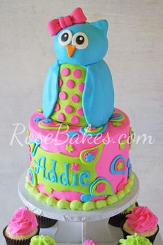 Owl Cake Topper and Cupcake Tower