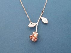 Beautiful Rose gold Rose Necklace Flower Necklace Lovers by Gliget