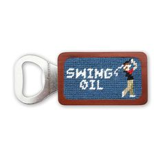 Swing Oil Needlepoint Bottle Opener in Slate by Smathers & Branson Home Swing, Day Drinking, First Class Shipping, Sale Items, Slate, Needlepoint, Pink And Green, Bottle Opener, Barware