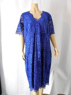 CALVIN KLEIN Lace Dress size 20W blue short sleeve knee length NEW NWT #CalvinKlein #Sheath #Cocktail