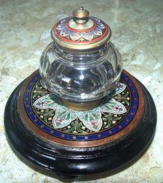FRENCH ANTIQUE CHAMPLEVE & CUT CRYSTAL INKWELL
