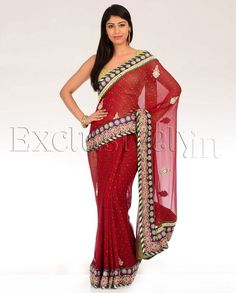 Red Bandhani Printed Sari with Embroidered Border and Yellow and Green Dots - Exclusively In