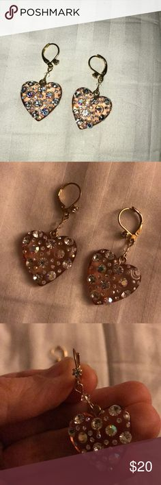 Sparkle heart Betsey Johnson Pale rose colored acrylic heart earrings with very sparkly crystals embedded in the heart and a small CZ on the front on post. Excellent condition, perfect for all occasions. These are my favorite, I hate to part with them. Betsey Johnson Jewelry Earrings