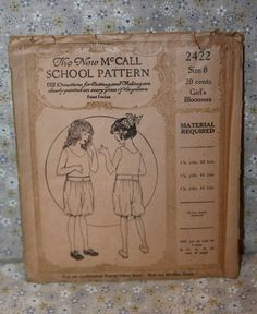 The New McCall School Pattern 2422 Girl's Bloomers Size 8 1920s | eBay