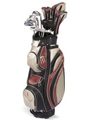 Torri 212 10-Piece Ladies Golf Club Set includes: Right hand only  14º, 430cc Titanium Driver  4, 7 Stainless Fairway Woods   5, 6 Hybrid Irons   7, 8, 9, PW, SW Conventional Irons  Torri 212 Series Putter   Torri 212 Rose Cart Bag (rose,tan,black)  Matching headcovers included