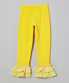 Loving this Yellow Gingham Ruffle Leggings - Toddler & Girls on #zulily! #zulilyfinds