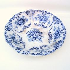 Antique Flow Blue Cobalt Blue Pottery Blue White.