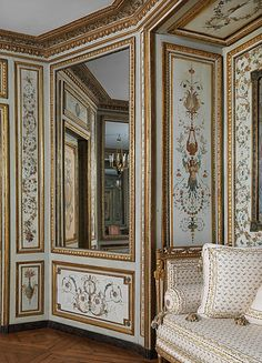 (detail) Boudoir from the Hotel de Crillon, Place de la Concorde, Paris 1758 - architect Jaques-Ange Gabriel now in the Met. Museum NY  #rococo interior