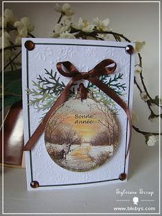 Recycle Christmas cards - die cut or punch a section of the card, add embellishments