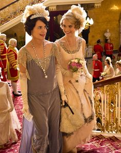Elizabeth McGovern as Cora Crawley, Countess of Grantham and Lily James as Lady Rose MacClare in Downton Abbey Series 4 Christmas Special (2013)