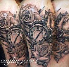 Caylin Jewel | Realistic roses and pocket watch tattoo | Womens half sleeve | By Jerry @ Urbans Tattoo in Arlington, TX | Memorial Tattoo jetzt neu! ->. . . . . der Blog für den Gentleman.viele interessante Beiträge - www.thegentlemanclub.de/blog