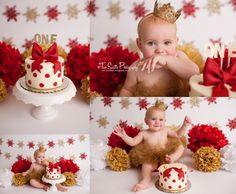 Two Sisters photography cake smash session, Christmas cake smash, red and gold cake smash, Christmas theme