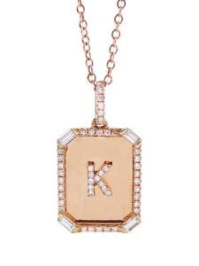 Mini Nameplate Necklace with Baguette Diamond Accents Nameplate Necklace 55a515d1ac4e