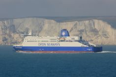 DFDS ship 'Dunkerque Seaways' passing the White Cliffs of Dover. 2013 (by Ian 10B)