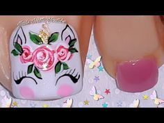 Pretty Toe Nails, Pretty Toes, Love Nails, Unicorn Nails, Toe Nail Designs, Barbie, Manicure And Pedicure, Nail Art, Lady