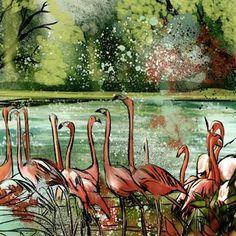 Flamingo Fever II - Kate Morgan - Artist & Illustrator
