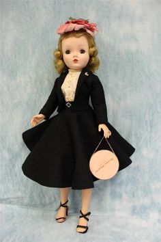 """20"""" 1950's Cissy Doll Tagged Black Traveling Suit & Rhinestone accents Alexander"""
