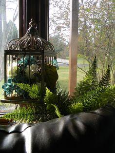 Bird cage with flowers inside Bay Window Decor, Art Ideas, Room Ideas, Inspiring Art, Bird Cage, Gazebo, Rooms, Outdoor Structures, Windows