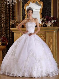 ab1d86d2999 White Quinceanera Dress in floor-length with Appliques and Beading for 2013  Dresses 2013