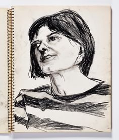 Diebenkorn, Charcoal or conte crayon, Page 019 from Sketchbook # 22 [woman in striped shirt]