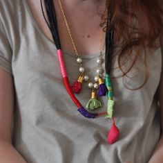 Wrap and Rope Necklace - Statement Fabric Necklace - Bohemian Jewelry - Embroidery Colorful Long Necklace - Winter Fashion by stellacreations on Etsy https://www.etsy.com/listing/164594322/wrap-and-rope-necklace-statement-fabric