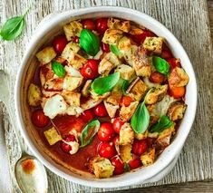 Chicken bake with garlic croutons