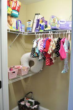 nursery closet with hanging space and shelf storage