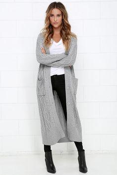 At Great Length Grey Long Cardigan Sweater at Lulus.com!