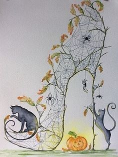 Shoe Art 2 Halloween Shoes, King Design, Canvas Art, Canvas Prints, Shoe Art, Illustrations, Cat Art, Art Drawings, Sketches