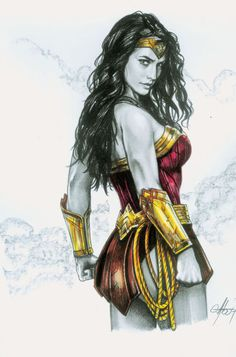 Wonder Woman by Claudio Aboy Wonder Woman Drawing, Wonder Woman Art, Wonder Woman Comic, Gal Gadot Wonder Woman, Superman Wonder Woman, Wonder Women, Dc Comics Characters, Dc Comics Art, Female Characters