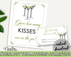 Kisses Guessing Game Bridal Shower Kisses Guessing Game Modern Martini Bridal Shower Kisses Guessing Game Bridal Shower Modern Martini ARTAN #bridalshower #bride-to-be #bridetobe