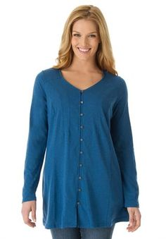Soft knit button-front tunic top with long sleeves